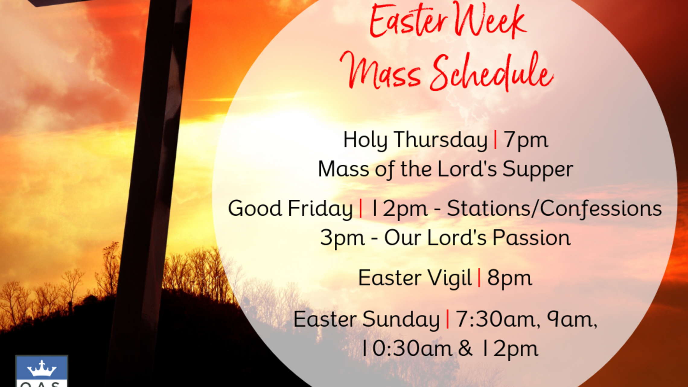 Easter Week Mass Schedule at QAS