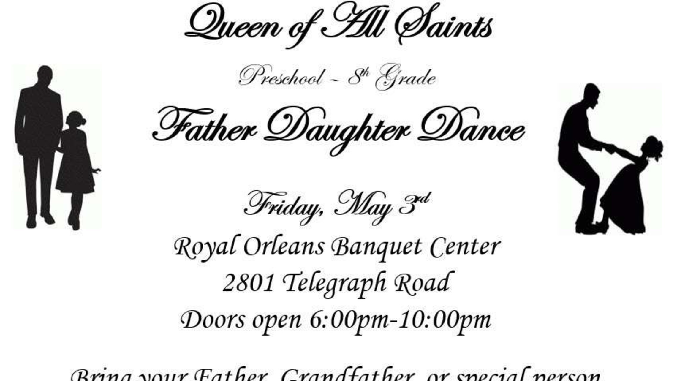 Father/Daughter Dance is on May 3rd!
